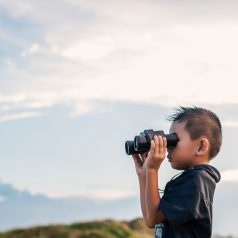 Happy kid playing binoculars in the meadows.